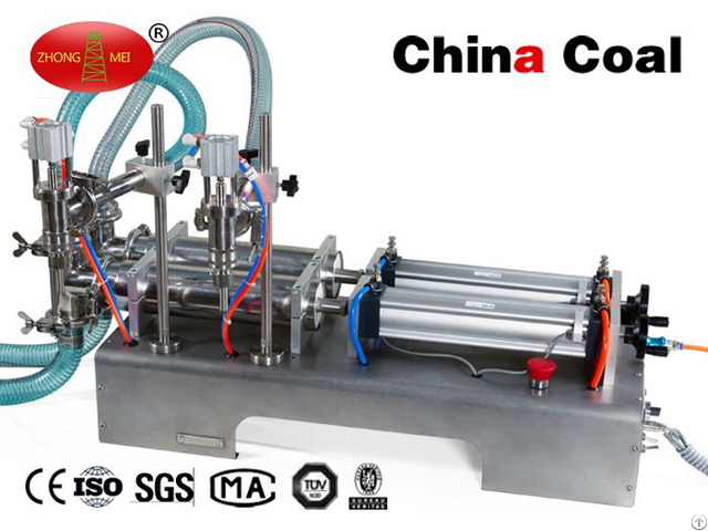 Semi Automatic Two Nozzle Piston Pneumatic Laundry Washing Liquid Filling Machi