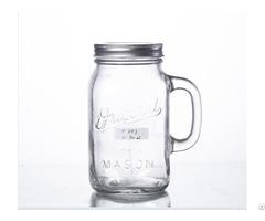 Embossed Big Mason Jar With Handle