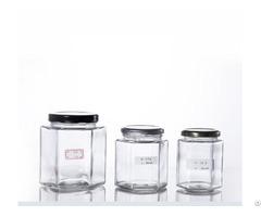 Hexagonal Glass Honey Jars With Metal Screw Cap