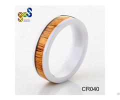 6mm Lady Wedding Band Crafted Out Of Ceramic Koa Wood Jewelry