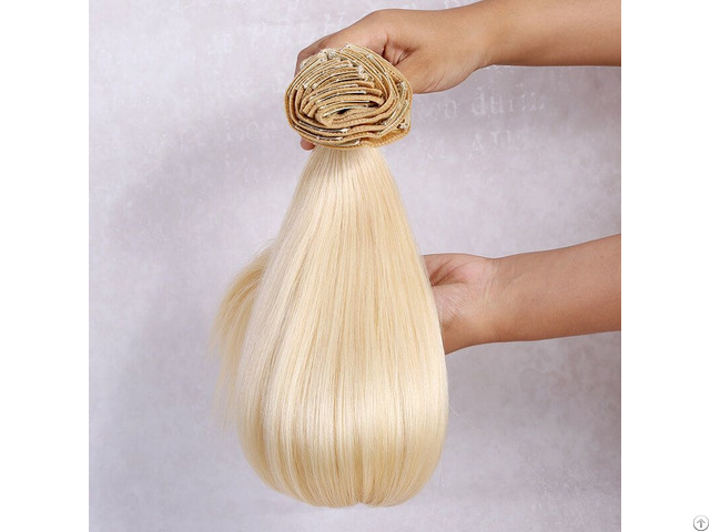 Platinum Blonde 24 Inches 220g Clip In Hair Extensions