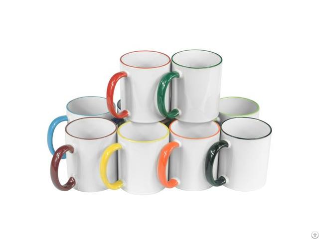 11oz Ceramic Color Rim Mug