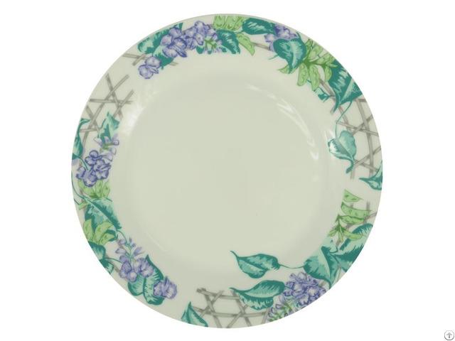 8 Inch Ceramic Plate With Leguminosae Rim
