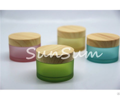 Colorful 50g Matte Face Cream Jar With Wooden Lid