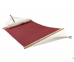 Double Quilted Fabric Hammock With Pillow For Outdoor Patio Yard