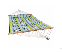 Stripe Quilted Fabric 2 People Hammock With Pillow