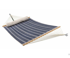 Double Size Spreader Bar Quilted Fabric Hammock With Pillow For Outdoor Patio Yard