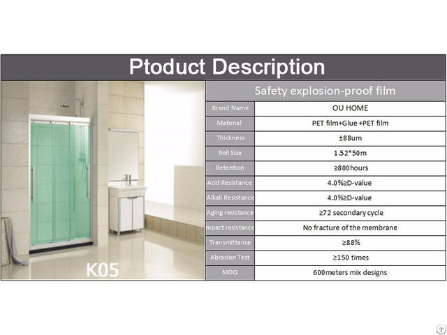 Ouhome Glass Explosion Proof Pet Protective Film For The Bathroom Shower Room