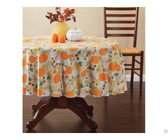 Tablecloth Pe With Needle Punched Cotton Pumpkin Round