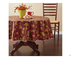 Tablecloth Pe With Needle Punched Cotton Leaves Round