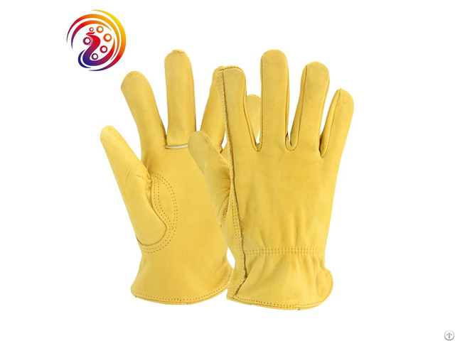 Heavy Duty Industrial Safety Cowhide Wood Cutting Leather Gloves Manufacturers