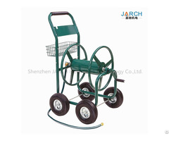 Liberty Home Residential 4 Wheel Steel Garden Hose Reel Cart Holds 350 Feet Of 5 8 Inch Green Cable