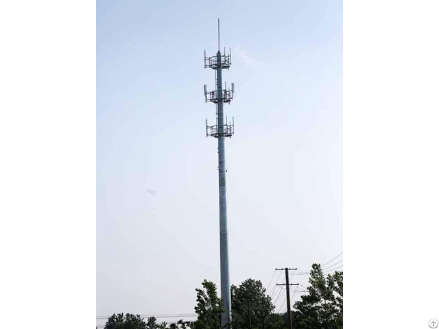 China Anti Wind Galvanized Single Tube Communication Tower Supplier