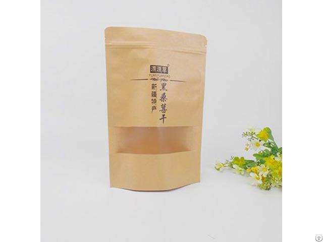Printed Brown Plastic Lined Zipper Food Kraft Paper Bag