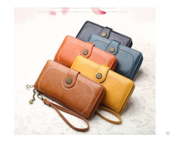 Handbag Making Supply Ladieswallet Large Capacity Pu Hand Bag Coin Purse