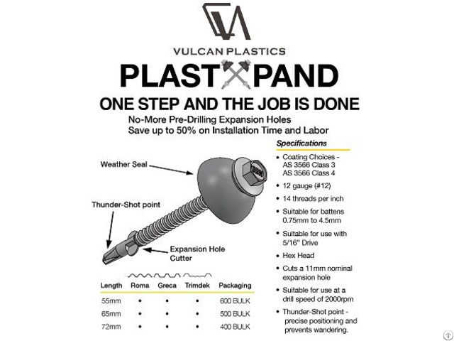 Vulcan Plastxpand Crest Fixing Fasteners