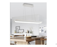 Rectangular Restaurant Modern Aluminium White Oval Pendant Light Fixture