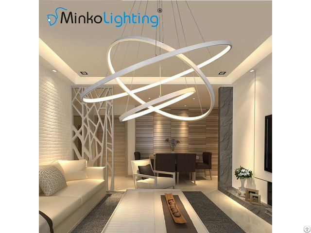 Modern Acrylic Circle Pendant Lights Contemporary Chandeliers Round Hotel Led Lamp