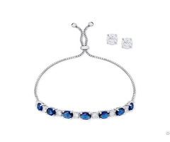 Sapphire Slider Bracelet And Cubic Zirconia Stud Earrings Set In Silver Plate