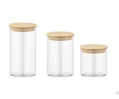 M001 China High Quality Borosilicate Glass Canister Wood Lid Oem Manufacturer