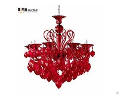 Modern Indoor Chandeliers Wholesale Red Glass Chandelier Crystals Pendant Light Lighting Lamps