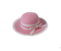 Pink White Lovely Kids Paper Straw Hat With Bow
