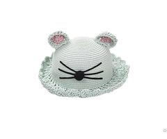 Fashion Cat Ear Custom Kids Straw Hat