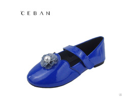 Girls Patent Pu Velcro Flowers Pearl Shoes Pumps Flats