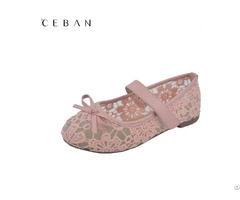 Girls Lace Flowers Princess Bowknot Velcro Flats Pumps Shoes Footwear