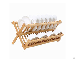 Hot Sale Wooden Collapsible Dish Drying Kitchen Plate Rack Wholesale