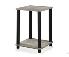 Home Modern Design Simple Square Grey Black Finish Simplistic End Table Wholesale