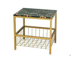 High Quality Deluxe Marble Top End Side Table With Metal Storage Basket Wholesale