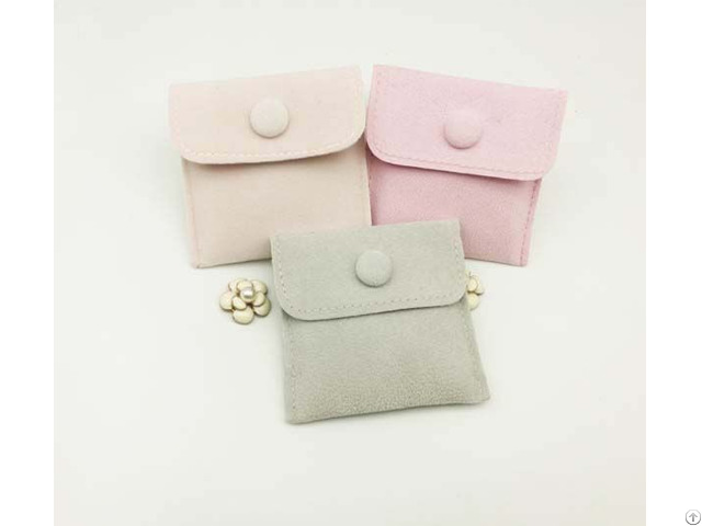 Velvet Jewelry Envelope Bag With Button Closure
