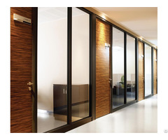 Free Design Stable Glass Wall Partition Aluminium Frame Wood Panel For Modern Office