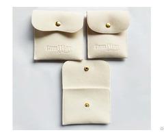 Off White Velvet Envelope Jewelry Bag