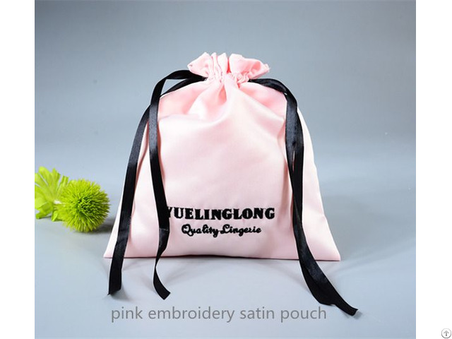 Satin Gift Pouch With Embroidery Logo