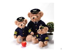 New High Quality Captain Bear Doll Wearing Cap Teddy Pilot Uniform Plush Toy