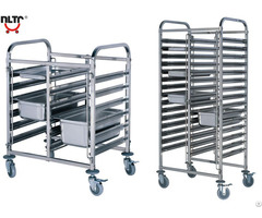 Stainless Steel Double Unit Rack Trolley Knock Down