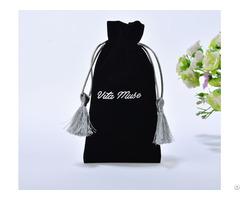 Black Velvet Gift Bag With Silver Tassels