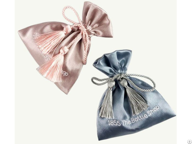 Embroidery Satin Gift Bag With Polyester Tassels