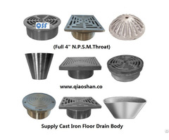 Stainless Steel Strainer And Cleanout Top For Cast Iron Floor Drains Body