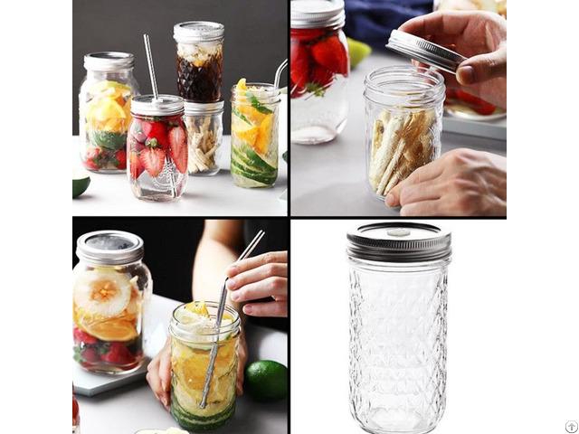 Embossed Glass Mason Jar