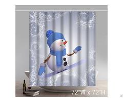 Funny Snowman Waterproof Kitchen Shower Curtains