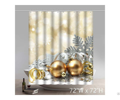 Christmas Bell Snowflake Pattern Gold Shower Curtain