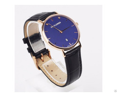 Lady Watches Case Sapphire Glass Swiss Movement 3 Atm Waterproof Black Leather Watch Strap