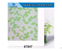Bt847 Stained Green Leaves Pvc Privacy Window Film