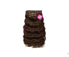 Clip In Body Wavy Hair Dark Brown Color