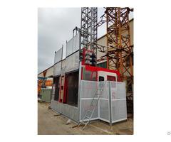 Double Cage 2 Tons Building Construction Crane Hoist