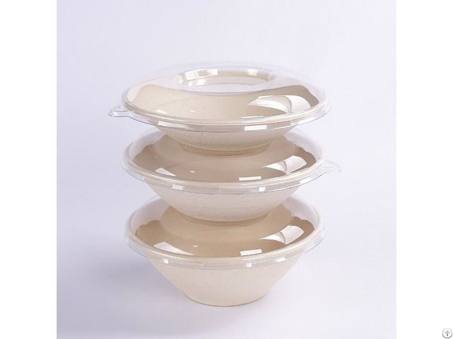 Sugarcane Round Bowl With Pet Lid