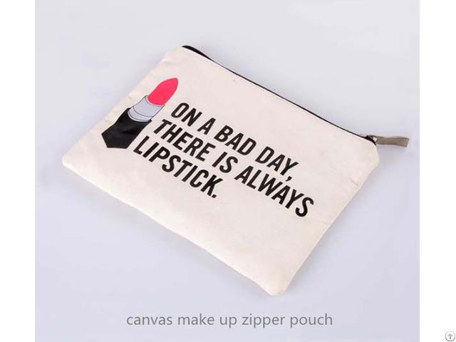 Canvas Make Up Zipper Pouch
